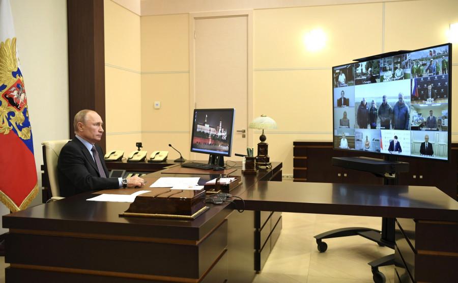 Встреча Путина с экологами и зоозащитниками в формате видеоконференции.