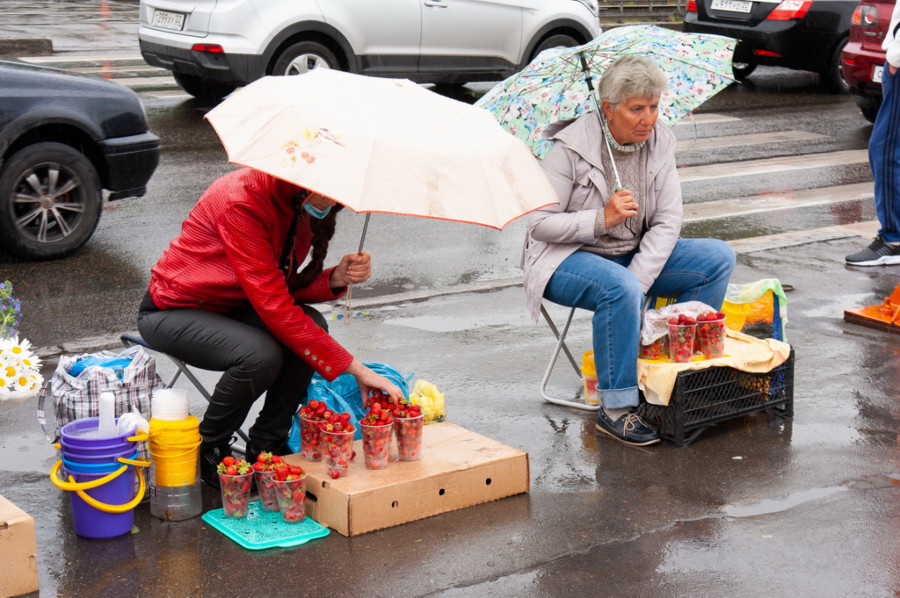На барнаульских базарчиках продают клубнику нового урожая.