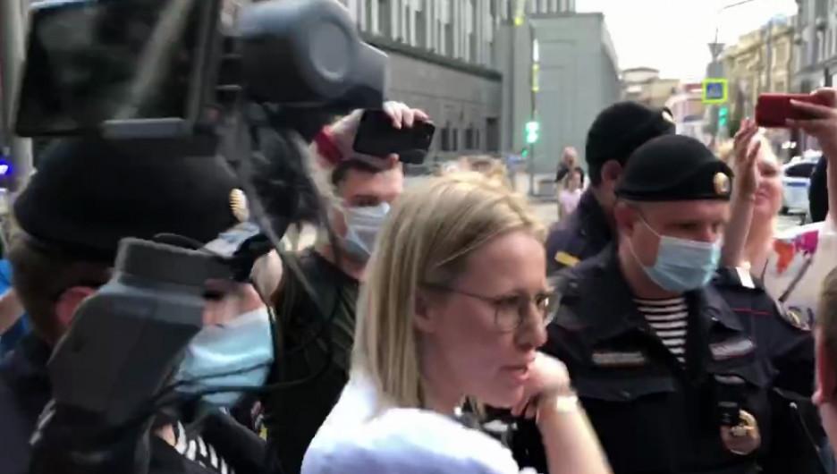 Задержание Ксении Собчак на акции в поддержку Ивана Сафронова.