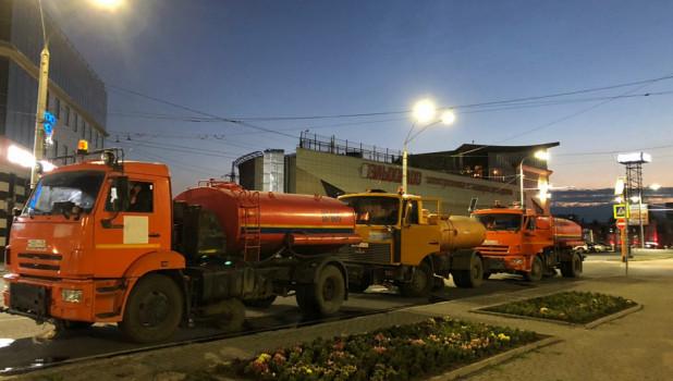 Ночная обработка барнаульских улиц от коронавируса в июле 2020 года.