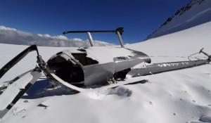 Аварийная посадка Robinson R66 на склоне Белухи.
