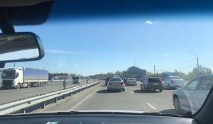 Пробка на новом мосту в Барнауле