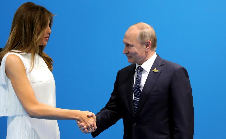 Мелания Трамп и Владимир Путин.