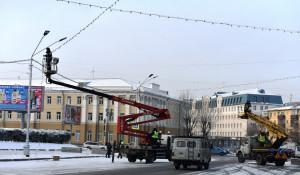 Обустройство пл. Сахарова в Барнауле к Новому году.