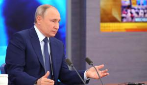 Владимир Путин на пресс-конференции.