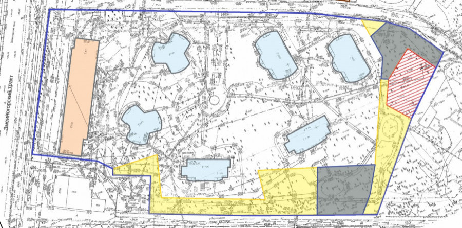 """План ТСЖ """"Городок"""" в ранее утвержденных границах (желтым цветом выделены 1,1 га спорной территории)."""