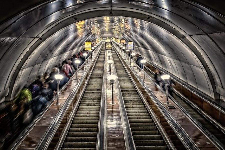 В метрополитене.