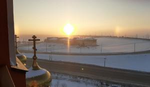 Эффект гало в Барнауле. 19 января 2021 года.