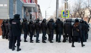 Несанкционированный митинг в поддержку Навального в Барнауле. 23 января 2021 года.