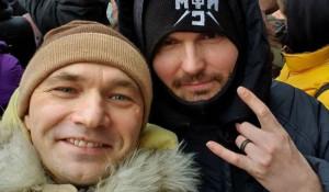 Noize MC и Влади на акции в поддержку Алексея Навального 23 января 2021 года.