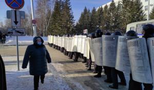Акция в поддержку Навального в Барнауле, 31 января.