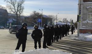 Акция в поддержку Навального. Барнаул, 31 января.