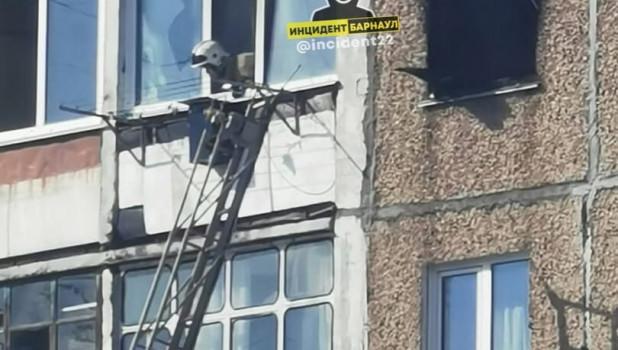 Пожар на ул. Взлетной в Барнауле.