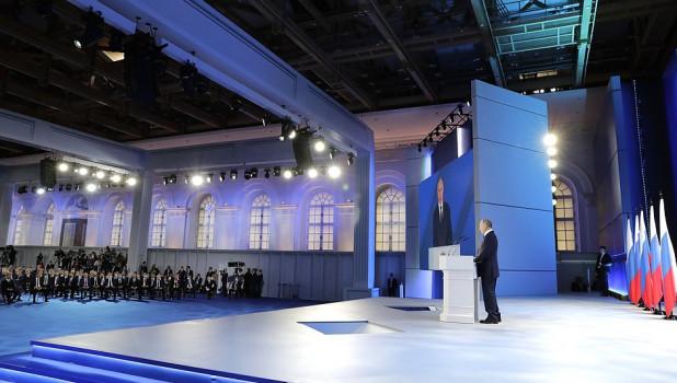 Владимир Путин на оглашении послания Федеральному собранию, 2021.