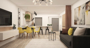 Интерьер квартиры-студии.