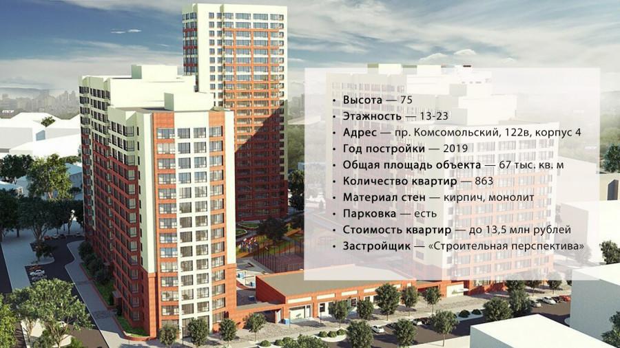"""ЖК """"Две эпохи"""", возведенный на пр. Комсомольский, 122в, корпус 4."""