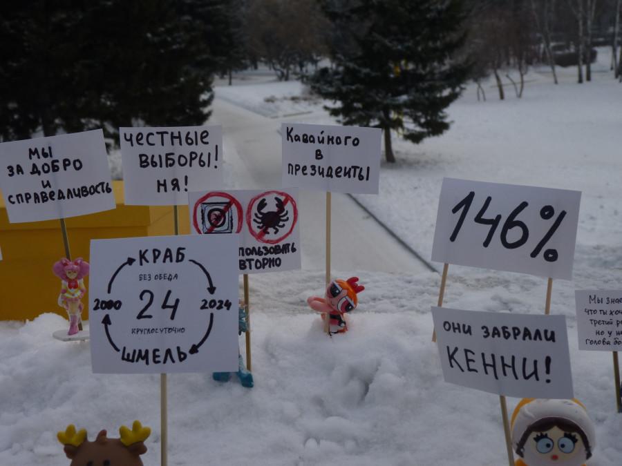 """В Барнауле прошел наномитинг """"За честные выборы""""."""